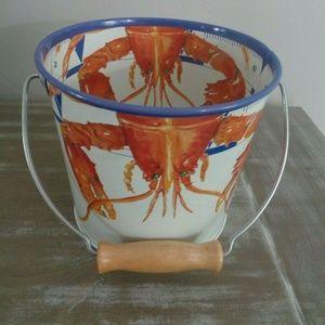 Golden Rabbit Enamelware Lobster Pail CE BUCKET
